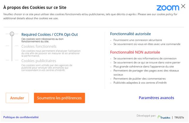 Gestion avancée des cookies sur le site de Zoom